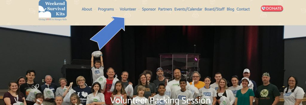 photo of volunteer packing session and how to find place on website to track volunteer hours