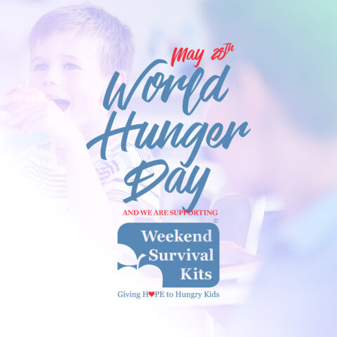 This image shows a child happy to be eating a good meal. This was part of the World Hunger Day Promotion