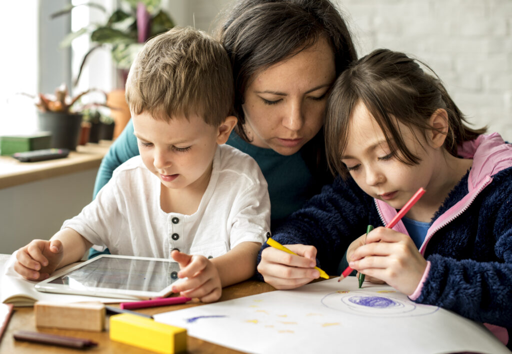 Mom, challenged with home schooling. Dealing with Covid 19 Impact